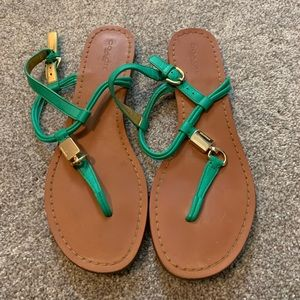 Coach green strap sandals with gold embellishment